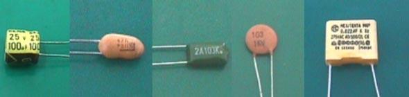 一、电容的实物外形如下图所示:    二、电容在底板上用字母C表示,如下图表示:    三、电容的分类:   1. 从结构上分有:固定电容和可调电容   2. 从构造上分有:有极性电容:电解电容…..   无极性电容:云母电容、纸质电容、瓷片电容(扁仔)   四、电容的标称有容量和耐压之分:   电容容量的单位及换算: 1 F(法拉)=106uF (微法)= 1012 pF (皮法)   五、电容容量的标示:   一种用数字直接标示出来;一种用色环作代码接表示出来(其原理和色环电阻识别一